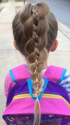 Four strand braid with braid ponytail