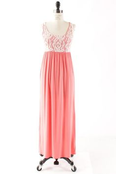 Coral & Lace Solid Maxi Tank Dress