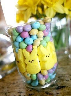 Cute Easter Peeps & M in a jar! Great table scape!