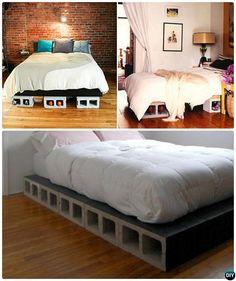 DIY Cinder Block Platform Bed-10 Concrete Block Home Decorating Projects