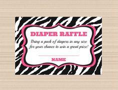 Hot Pink Zebra Baby Shower Digital Diaper Raffle Tickets on Etsy, $5.00