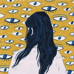Eyes- the dullness of the yellow highlights the white shades. Therefore pushes the eyes out to feel as thought they are always watching