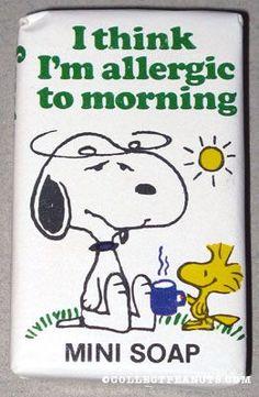 Woodstock giving Snoopy a mug 'I think I'm Allergic to Mornings' Mini Soap Bar