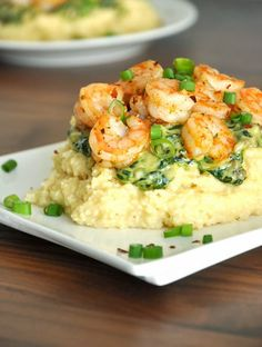 Cheesy Gouda Grits with Savory Spinach Sauce & Seasoned Shrimp Shrimp Dishes, Fish Dishes, Fish Recipes, Seafood Recipes, Cooking Recipes, Dinner Recipes, Shrimp Grits, Shrimp And Cheesy Grits, Shrimp And Polenta