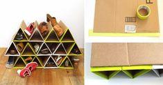 Reutiliza cartón de manera inteligente con este práctico organizador de zapatos Diy Cardboard Furniture, Diy Organization, Craft Work, Cool Diy, Paper Art, Diy And Crafts, Home Improvement, Recycling, Projects To Try