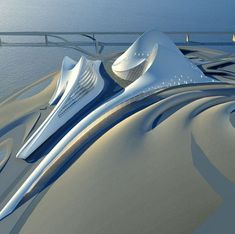 The Dubai Opera House designed by Zaha Hadid. Courtesy Zaha Hadid Architects: Dubai Dreams: Properties Delayed or on the Drawing Board Via Marquette Turner Luxury Homes Concept Architecture, Futuristic Architecture, Facade Architecture, Contemporary Architecture, Cultural Architecture, Biomimicry Architecture, Origami Architecture, Library Architecture, Chinese Architecture