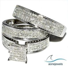 2-2/5 CT Attractive Micro Pave Round Cut Diamond 925 Silver Unisex Trio Ring Set #aonejewels