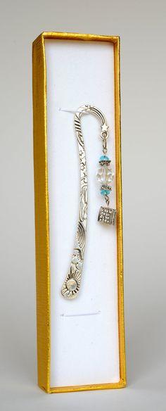 Blue Bead Silver Metal Handmade Bookmark with by SiramarkHandmades, $12.00
