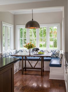 Breakfast Nook Design. banquette  banquette seating  blue cushion  breakfast nook  built in bench  pendant light  #BreakfastNook Janet Mesic Mackie