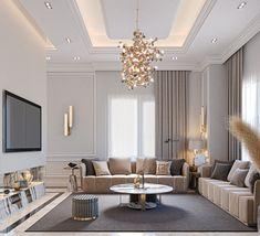 Ceiling Design Living Room, Decor Home Living Room, Home Room Design, Interior Design Living Room, Living Room Designs, Tv Wall Design, Home Decor, Classic Living Room, Elegant Living Room