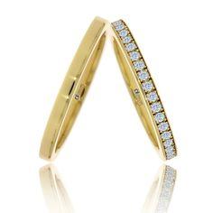 Perechea de verighete de lux Cassiopeia are un design de un farmec aparte, pietrele incrustate pe banda damei incantandu-ne cu sclipirile lor ca rupte din stele.   Modelul este disponibil la pret promotional! Love Bracelets, Cartier Love Bracelet, Bangles, Rings, Jewelry, Diamond, Bracelets, Jewlery, Jewerly