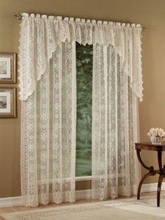 The Hopewell lace curtain panels, valances, tier curtains and balloon shde will add an elegant touch to any room in your home. White Lace Curtains, Lace Curtain Panels, Cream Curtains, Long Curtains, How To Make Curtains, Panel Curtains, Tier Curtains, Lace Bedroom, Bedroom Curtains