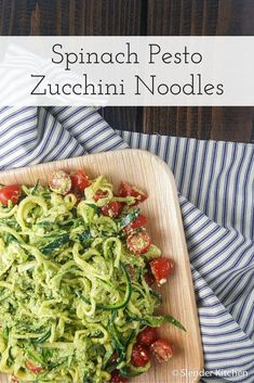 Spinach Pesto Zoodles with Cherry Tomatoes - low carb, gluten free