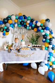 Balloon Theme Birthday Party, Balloon Arch, Dessert Table, Boy birthday party idea, These Blonde Walls Blog, Kaila Walls