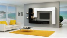 """Brin 7 Modern and sophisticated Wall unit line Brin is perfect for many different interiors. Total Dimensions: Wall cabinet Height - 150 cm - 59,1"""" Width - 300 cm - 118,1"""" Depth - 32 cm - 12,6"""" TV space - 150 cm - 59"""" free space between oposite furniture units"""