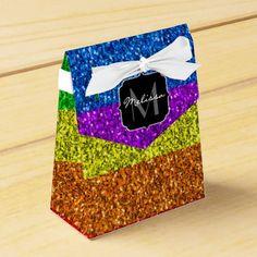 LGBT flag vibrant sparkles Monogram Favor Box - glitter glamour brilliance sparkle design idea diy elegant