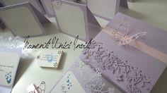 Partecipazione Invito farfalle - glicine perlescente. Modello Volo Lieve farfalla rosa tenue. Butterflies wedding invitation Pink