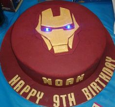 IRON MAN Cake...this must be the one because it has Noahs name on it!!!!