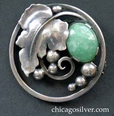 Edward Oakes. Arts and Crafts brooch. Silver and ?. In a private collection.