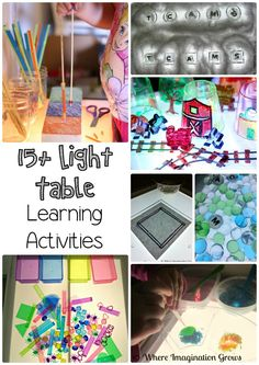 Light table learning activities for kids with crafts, sensory learning, alphabet and more. Great idea for indoor game or hands-on learning activity for preschool and kindergarten aged children. Toddler Learning Activities, Sensory Activities, Sensory Play, Classroom Activities, Fun Learning, Early Learning, Sensory Bins, Kindergarten Activities, Preschool Science