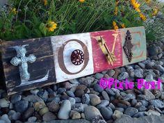 LOVE rustic embellished pallet board.  by PixieDustLouisville