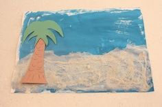 Could collect sand, shells, pebbles, etc on the beach and make one of these on a rainy day.  On thick paper/foam board and I could hang it on the wall for the summer.