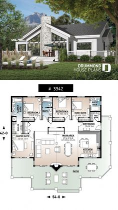 2 Bedroom House Plans with 2 Master Suites. 2 Bedroom House Plans with 2 Master Suites. Amazing House Plans with 2 Master Suites Luxury House Plans Sims House Plans, Cabin House Plans, House Plans One Story, New House Plans, Dream House Plans, Modern House Plans, Dream Houses, Story House, Cottage Floor Plans