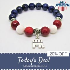 Today Only! 20% OFF this item.  Follow us on Pinterest to be the first to see our exciting Daily Deals. Today's Product: Sale -  American Pride Republican Elephant Charm Bracelet Red White Blue Bracelet Patriotic Bracelet Lapis Lazuli Coral Jade Patriotic Brace Buy now: https://www.etsy.com/listing/502809624?utm_source=Pinterest&utm_medium=Orangetwig_Marketing&utm_campaign=RED%20%20WHITE%20%26%20BLUE%20DAILY%20SALE #etsy #etsyseller #etsyshop #etsylove #etsyfinds #etsygifts #musthave #loveit…