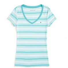 Tommy Hilfiger Multi Stripe Vneck Tee ($23) ❤ liked on Polyvore featuring tops, t-shirts, cotton v-neck tee, cotton tee, cotton t shirt, blue v neck t shirt and cotton v neck t shirts