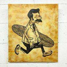 traditional surfer. original art by Sho Watanabe.