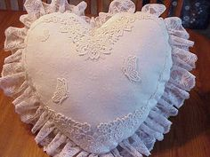 White Normandy lace heart pillow