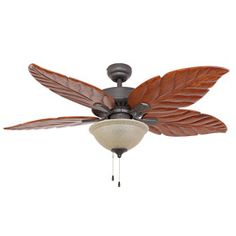 EcoSure Aruba 52 Inch Tropical Bronze Ceiling Fan With Hand Carved Wooden Blades And Remote Control By