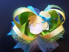 Deluxe Stacked Tinkerbell 3in1 Bow by bowsglitzandgiggles on Etsy, $12.20