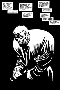 Dark contrast graphics image by Frank Miller. One of the most famous graphic novelist in the United States. He uses black and white contrast to create the image and boundaries such as shadow. it is simple but aesthetically pleasing when explaining about the inner or outer conflict to show the mentality.