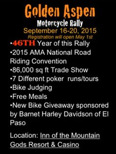 Start This Week- Golden Aspen Motorcycle Rally- Mescalero (close to Ruidoso), NM- September 16 to 20, 2015   http://www.lightningcustoms.com/events/event_38875.html  #goldenaspenmotorcyclerally