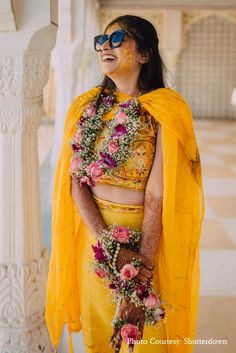 Isha and Mohit, Jaipur, Photography, Haldi, Haldi Ceremony, Floral Jewellery, Haldi outfit, Candid Photography, Bride, Fun Moments Bridal Jewellery, Wedding Jewelry, Haldi Ceremony, Jaipur, Bridal Accessories, Real Weddings, Destination Wedding, Saree, Bride