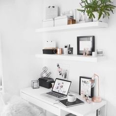 Minimal desk, ikea floating shelves with rose gold detail. Adding floating shelves and adding some greenery would brighten up any small space. Home Office Design, Home Office Decor, Home Decor, Decor Room, Bedroom Decor, Bedroom Ideas, Wood Bedroom, Wall Decor, Minimal Desk