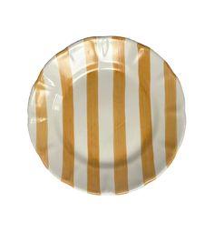 Popolo Large Yellow Striped Plate | Homeware | Anna + Nina Kitchen Larder, Yellow Fish, Orange Bird, Fish Shapes, Kitchen Collection, Yellow Stripes, Colours, Plates, Ceramics