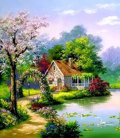 Spring Landscape Drawing Pencil 41 New Ideas Canvas Painting Landscape, Landscape Drawings, Cool Landscapes, Landscape Art, Beautiful Landscapes, Belle Image Nature, Fog Photography, Kinkade Paintings, Cottage Art