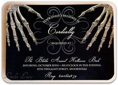Items similar to Halloween Party Invitation . Halloween Bones Collection . by Loralee Lewis -Halloween Wedding -Halloween Bachelorette -Elegant Halloween on Etsy