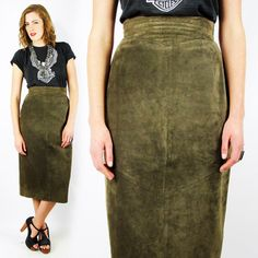 vtg 80s brown SUEDE leather HIGH WAIST PENCIL biker MOTORCYCLE midi skirt 27 S $48.00