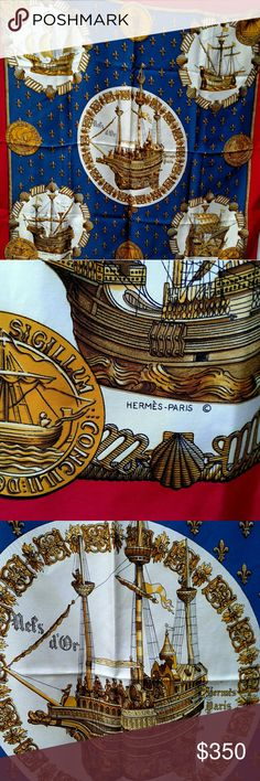 """Hermes """"Nefs d'Or"""" Nautical theme silk scarf Very rare, vintage , Authentic  Hermes silk scarf.  Beautiful , gorgeous . Excellent condition. Hermes Accessories Scarves & Wraps"""