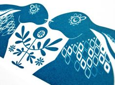 Blue Hares  Hand Pulled Signed Gocco Screen Print by deebeale, £23.50