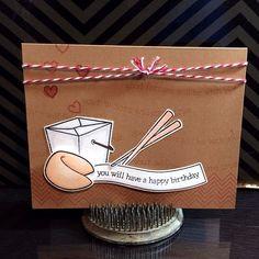".@scrappifyable | Birthday card using the @Lauren Davison Wood Fawn ""Good Fortune"" & ""Chevro..."