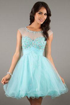 Mint Short Princess Scoop Organza Zipper Cocktail Dress
