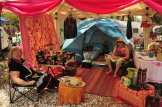 All the comforts of home.  camping tent glamping
