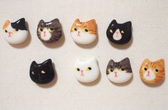 Cute ceramic magnets. Cat Face!!  I hand sculpted and Mold cast. Directly hand painted with professional ceramic colors. Then kiln fired at 1250° C.
