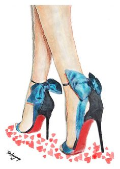 Louboutin Blue Bow High Heels Shoes Giclee Print from Original Watercolor Fashion Illustration Artwork