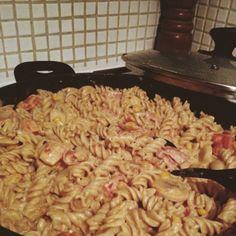 Enkel krämig pasta med bacon