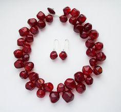 Necklace Red Wine by YuliyaDyubenko on Etsy